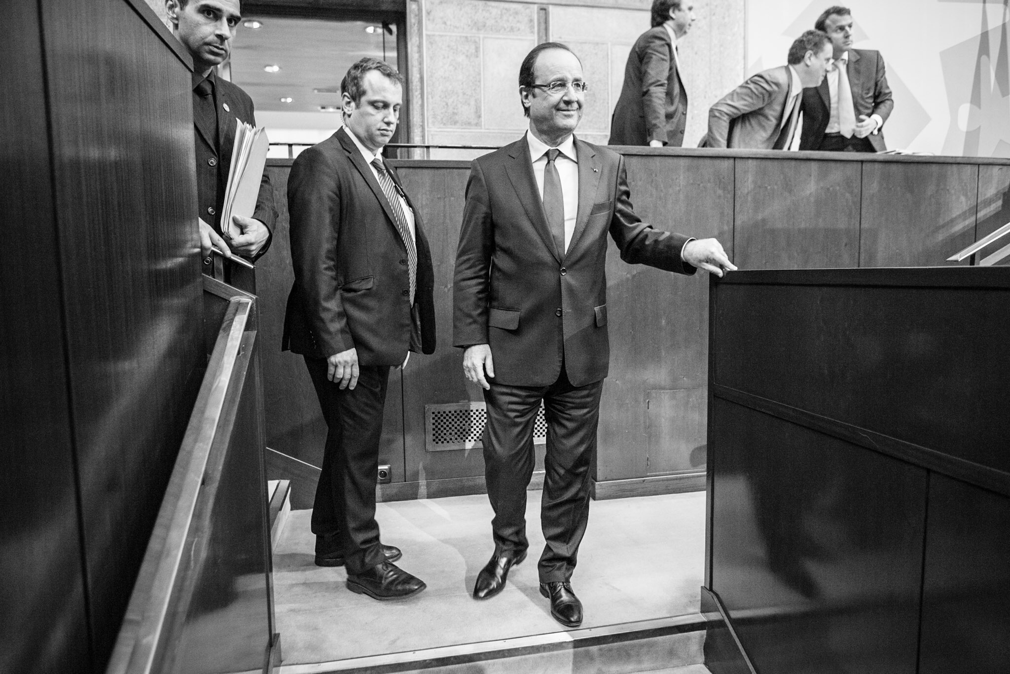 "French President François Hollande following his opening speech at the ""Grande conference pour l'emploi."""